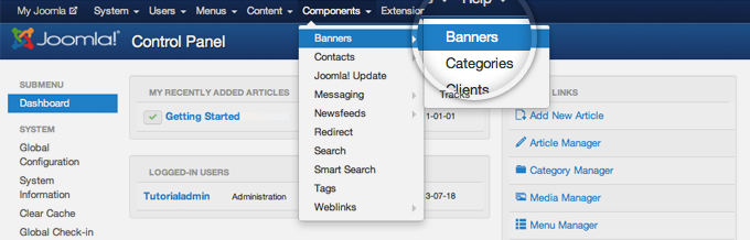 Add Banners to Joomla 3 Websites