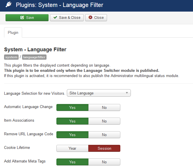 Enable Language Filter plugin