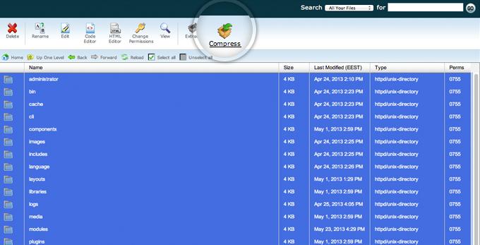 Create Joomla 3 Backup