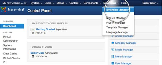 Install Joomla Extensions
