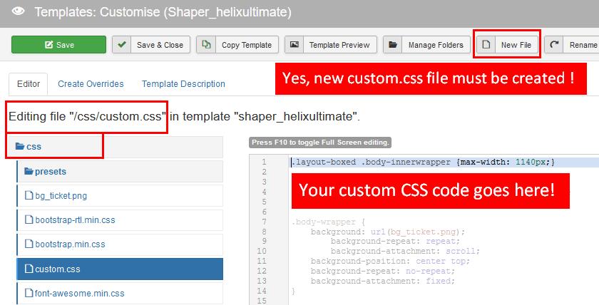custom css file