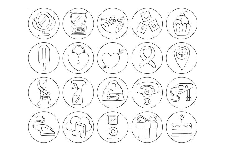 Set Of 20 Highlight Free Instagram Icons
