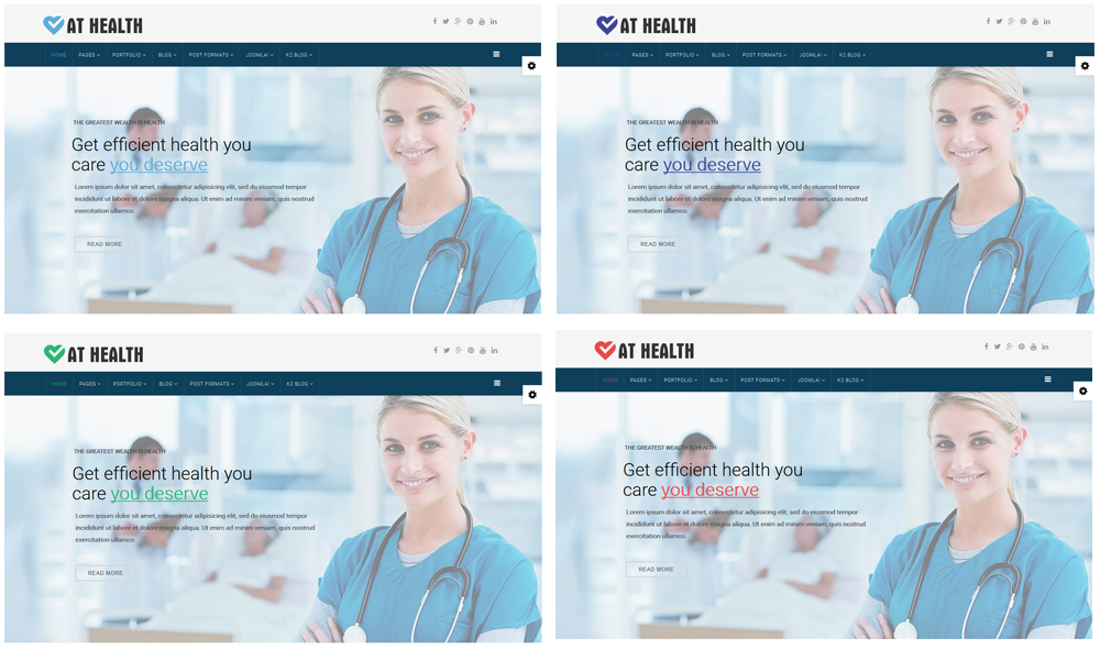 Heathcare Joomla template Color Styles
