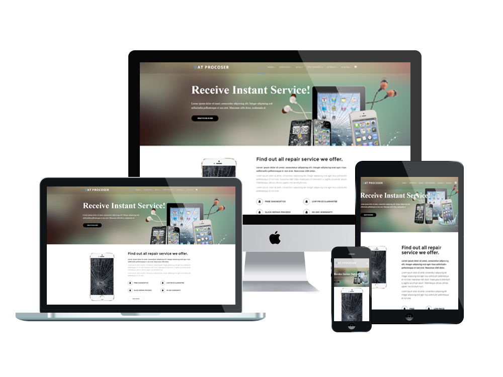 at procoser onepage  u2013 free mobile repair onepage joomla template