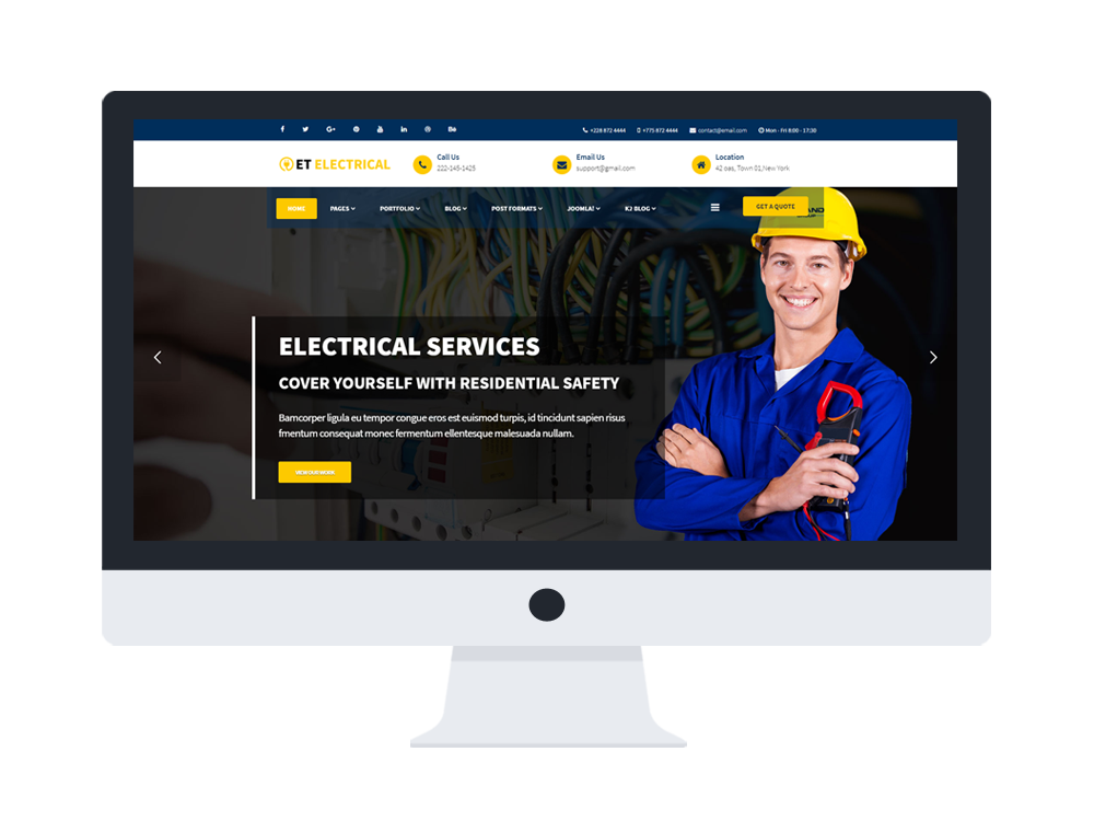 et electrical quality joomla electrical website template age themes. Black Bedroom Furniture Sets. Home Design Ideas